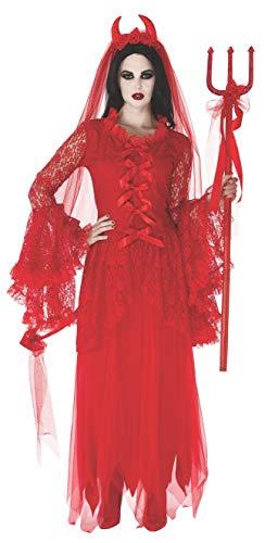 Top de disfraz victoriano con flores rojas y demonios para mujer - Rojo - M