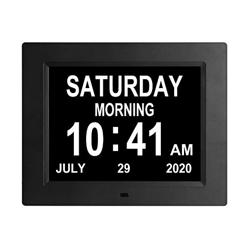 Jaihonda 8.7 INCH Extra Large Digital Day Calendar Clock 3 Medication Reminders Auto-Dimming Non-Abbreviated Day Date Dementia Clocks for Seniors...
