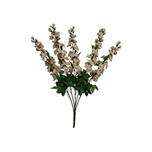 LINESS for 30″ Artificial Larkspur Delphinium Bush Wedding Silk Flowers Centerpieces Fake DIY LINESS for Wedding Flowers, Petals & Garlands Floral Décor – Color is Beige