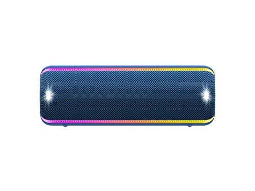 Sony SRS-XB32 Portable Bluetooth Speaker: Compact Wireless Party Speaker with Multicolor Lights and Flashing Strobe - Loud Audio for Phone Calls -Waterproof and Shockproof Bluetooth Speakers - Blue