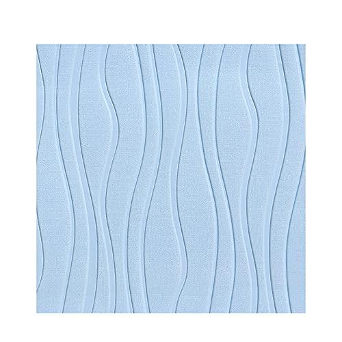 Shykey Papel Pintado Autoadhesivo 3D Minimalista, Pegatinas De Patrón De Rayas Curvas Impermeables DIY, Decorativo para Pared, Cocina, Dormitorio, 60X60cm,Azul,5PCS