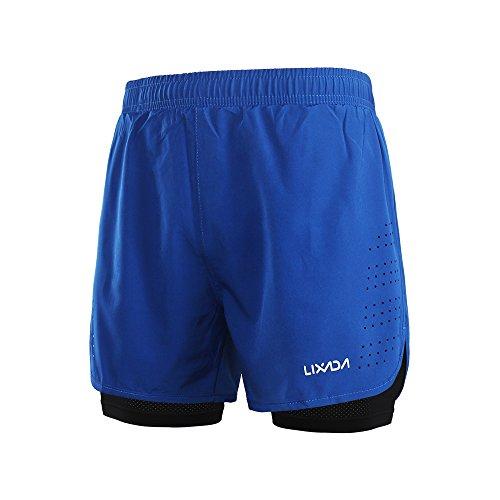 Lixada Hombres Pantalónes Cortos de Running 2-en-1, Pantalones Cortos de Atletismo, Pantalones Cortos de Fitness Maratón, Transpirable Pantalones+Secado Rápido (Azul, L)