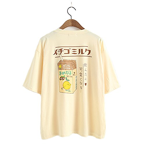 Damen-T-Shirt, Sommer-Top, Mädchen, japanischer Stil, Kawaii Fruchtsaft Baumwoll-T-Shirt Little Fresh Gr. Einheitsgröße, gelb