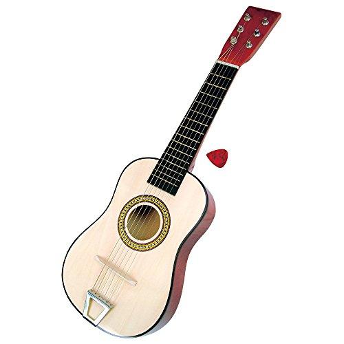 Bino & Mertens 86553 Spielzeuggitarre mit 6 nachstellbaren Saiten, 23 Zoll. Erstes Musikinstrument bzw. Pädagogisches Lernspiel für Anfänger. Regt das Interesse an der Musik an. Größe ca. 59x6x19,5 cm