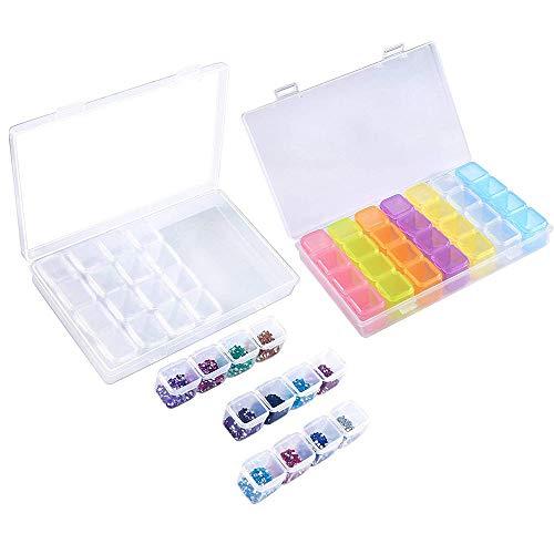 Amasawa 2 Stück 28 Slots Kunststoff Nail Art Dekoration Tools Container Abnehmbaren Fach Aufbewahrungsbox für Nägel Strass Schmuck Perlen DIY Handwerk (Farbe Transparent)