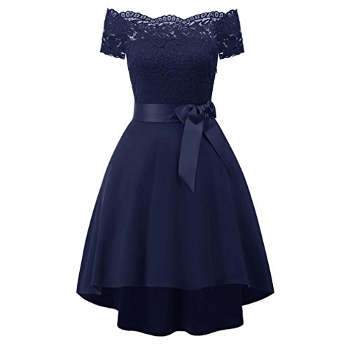 MIRRAY Damen Vintage Chiffon Blumenspitze Cocktail Party Aline Ärmelloses Kleid