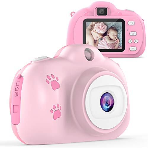 TECBOSS Kids Camera, Children Digital Cameras for Girls Toys, 1280P 8MP with 2 Inch IPS Display, The Best Birthday Gifts Toys for 3-10 Year Old Girls