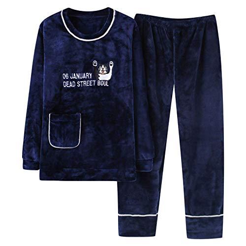 Conjuntos de pijamas de franela clidos para parejas, ropa de dormir de manga larga para hombres, pijama de cuello redondo para mujeres, pijamas para hombres, pijamas para el hogar, XL para hombres