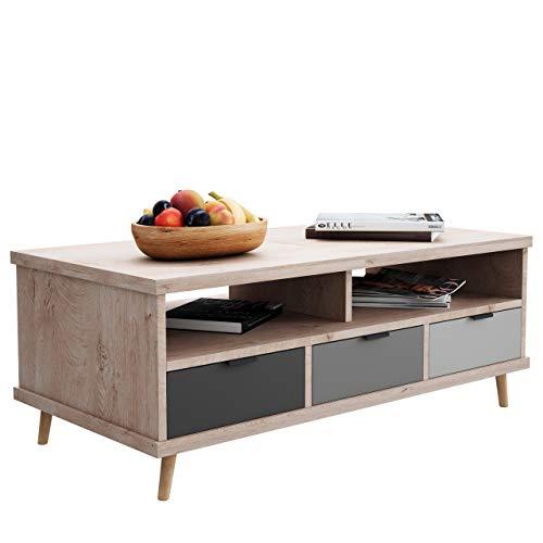 Newfurn Couchtisch Grau Eiche Hirnholz Wohnzimmertisch Modern Vintage - 120x46x60 cm (BxHxT) - Landhausstil Sofatisch Tisch - [Conni.six] Wohnzimmer