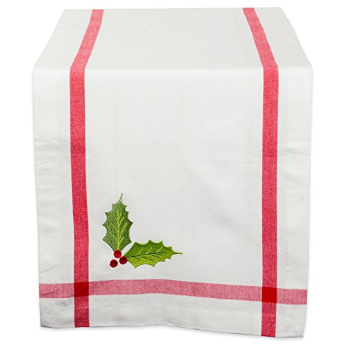 DII Embroidered Corner Christmas & Holiday Tabletop Collection, Table Runner 14x72, Holly