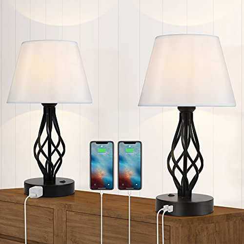 Set of 2 Table Lamp Modern Nighstand Lamp with Dual USB Ports AC Outlet Bedside Desk Lamp with Black Hollow Out Cage White Fabric Lampshade for Bedroom Office Farmhouse Hotel Living Room