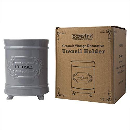 Comfify French Ceramic Utensil Holder - Grey