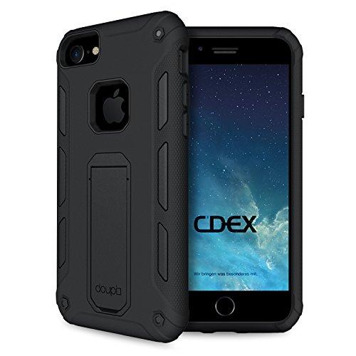 doupi Ultra Kickstand Hülle für iPhone 6 6S (4,7 Zoll), mit integriertem Ständer aufstellbar Schutz Case Cover, schwarz