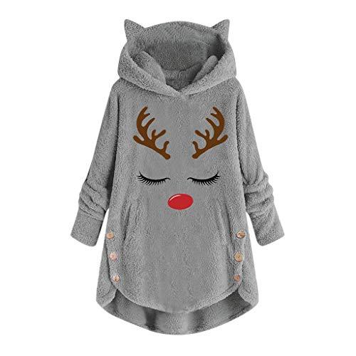 Kolila Damen Kapuzenpullover Weihnachten Casual Langarm Hirsch Gedruckt Warme Fleece Button Hoodie Sweatshirts Pullover Tunika