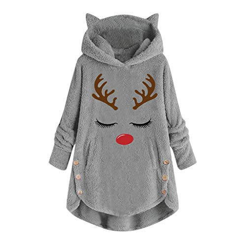 riou Sudadera con Capucha para Mujer tamaño Grande suéter para Mujer otoño...