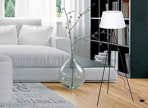 Trango 1522W Design zeitlos Tripod Stehlampe *WHITNEY* mit Stofflampenschirm in Weiß I Höhe: 1500mm I inkl. E27 Lampenfassung I ideal für LED Leuchtmittel I Standlampe I Dreibein I Wohnzimmerlampe
