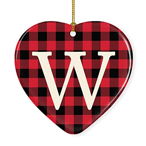 Andaz Press Heart Ceramic Porcelain Monogram Christmas Tree Ornament Keepsake Collectible Gift, Initial Letter W, Red Buffalo Plaid, 1-Pack, Wedding Bridesmaid's Gifts, Family, Ribbon and Gift Box