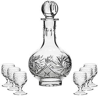 Vodka Set Russian Eoropean Cut Crystal 12 Oz Carafe Decanter & 6 Crystal Shot Glasses on a Short Stem