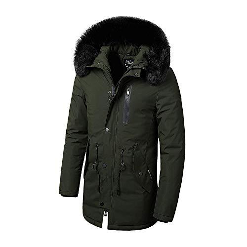 Mannen winterfaux lange dikke katoenen jas jas met capuchon zakken waterdichte jas
