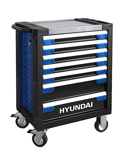 HYUNDAI Werkstattwagen SET 59003 (305-teilig, hochwertiger Werkzeugwagen, 7 Schubladen, 6 Schubladen bestückt, Montagewagen gefüllt mit Profiwerkzeug)
