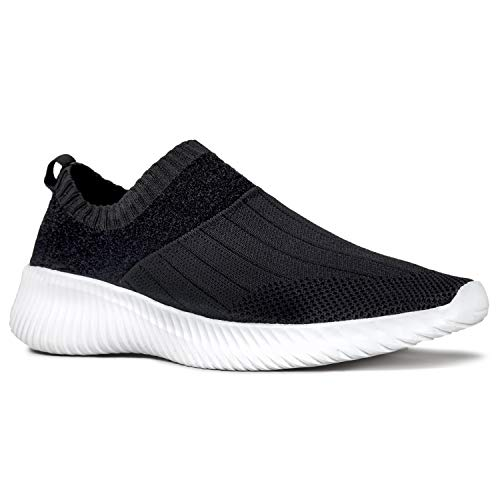 Qupid Triad Sneakers for Women - Black Mesh Knit Casual Walking Shoes - 8