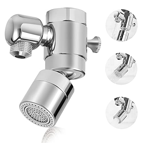 Kitchen Sink Faucet Aerator,360° Swivel Sink Faucet Sprayer Attachment,Dual-function Faucet Aerator for Kitchen Bathroom,Universal 27UNS Thread,Solid Brass - Polished Chrome