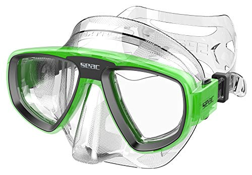 SEAC Unisex's Extreme 50 Diving and Spearfishing Mask with Optional Optical Lenses, Adult, Transparent/Green, One Size