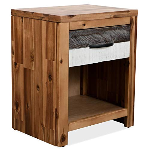 Festnight Nachttisch Nachtkommode Massivholz Akazie 40 × 30 × 48 cm