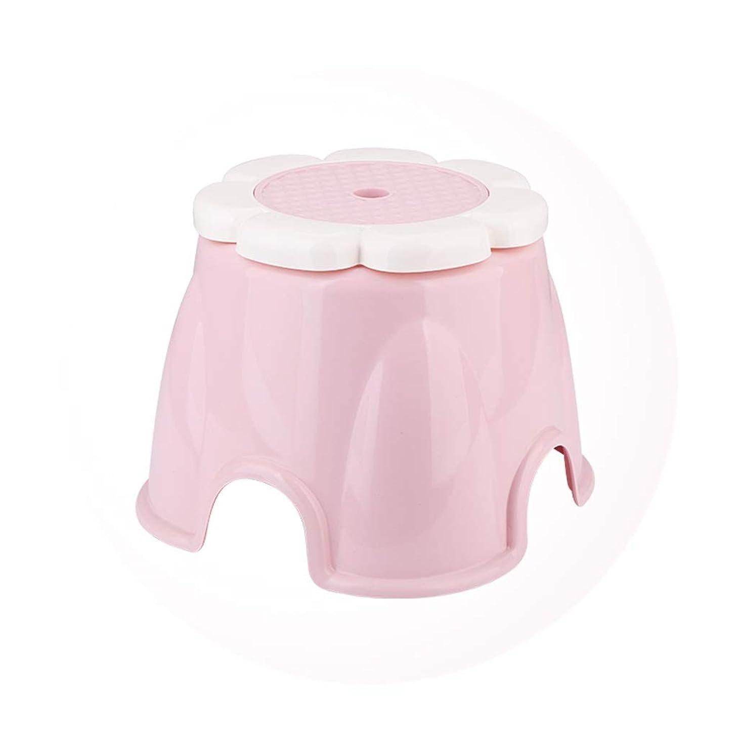 音声対抗デコラティブSGLI 子供たちは厚いプラスチックスツール、小さなベンチスリップ浴室の家のリビングルームスツールは彼の靴を変えます (Color : Pink)