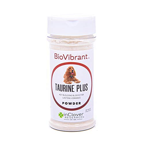 InClover BioVibrant Taurine Plus 4 in 1 Supplement for Dogs with Taurine and Essential Amino Acid Precursors, Protects Against Cardiomyopathy, Supports Heart Health, 3.5 oz Powder