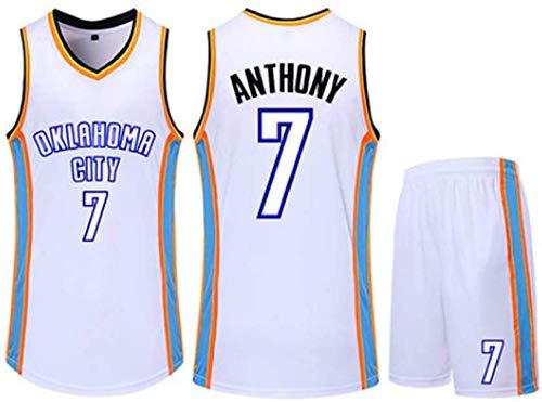 CCKWX Pullover di Pallacanestro Maschile - NBA Oklahoma City Thunder # 7 Anthony Jersey Set, Fresco Senza Maniche T-Shirt + Shorts in Tessuto Traspirante Unisex,Bianca,3XL