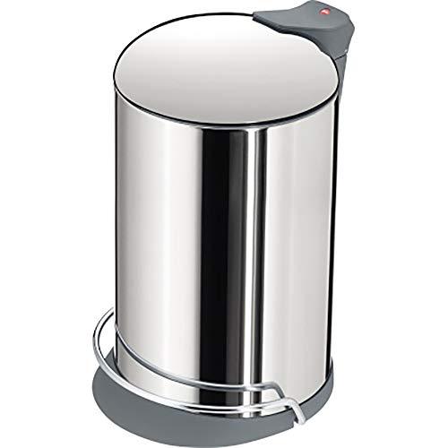 Hailo ProfiLine Solid Design M Mülleimer (aus Edelstahl, 13 Liter, Deckeldämpfung (Soft Close) breite Metall-Fußreling, Müllbeutel-Klemmung) 0516-000