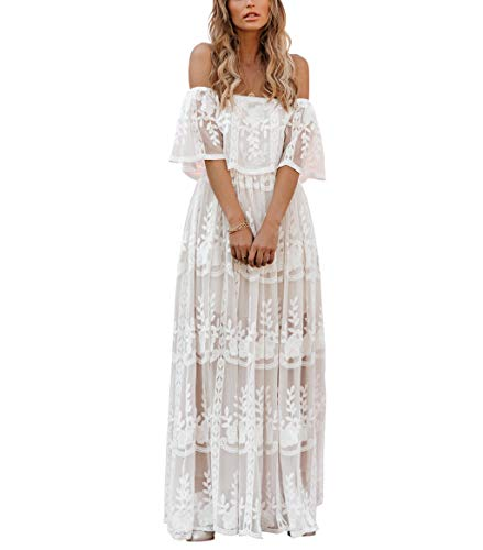 MERMAID'S CLOSET Womens Casual Off Shoulder Maxi Dress White Lace Sleeve Beach Dresses