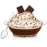 Dessert and Snack Bowls Set (20 Count) By Oasis Creations - 10 Ounce - Crystal Clear Disposable Plastic Bowls - Heavy Duty
