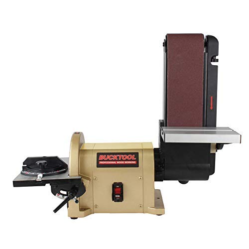 BUCKTOOL BD4801 Bench Belt Sander 4 in. x 36 in. Belt and 8 in. Disc Sander with...