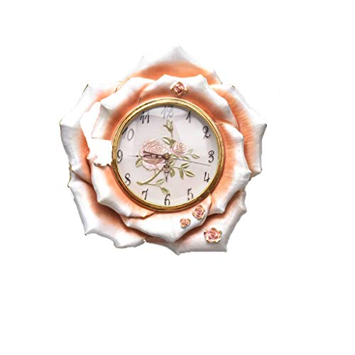 MANLADA-1 Resin Wanduhr, Rose-Blumen-Form Vergoldete Border Wanduhr Hohle Geschnitzte Zeiger Rose Geschnitzte Clock Face Wanduhr (Color : B, Size : 40 * 40cm)
