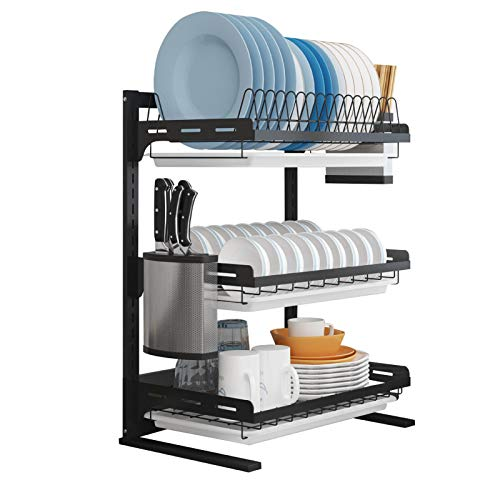 KWOPA Over Sink Dish Drying Rack,Stainless Steel Holders Drainer Shelf,Adjustable Dish Rack Drainer For Kitchen Storage Counter Organizer-Black. 3-tier 41.5x28.5x55.7cm(16x11x22inch)