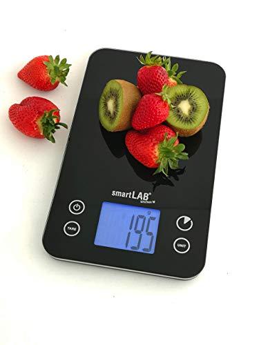 SmartLab Kitchen W Balance de Cuisine avec Bluetooth | Balance numérique pour la Cuisine en Verre | équilibre Alimentaire en Noir avec la Transmission de données