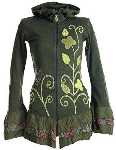 Vishes - Alternative Bekleidung - Handbestickte Blumen Sommerjacke aus Baumwolle mit Zipfelkapuze und Rüschen grasgrün 48