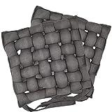 nxtbuy Flecht Stuhlkissen Braiding Primeur 40 x 40 cm 2er Pack - Premium Flechtkissen mit Halterungs-Bändern - geflochtenes Sitzkissen Stuhlauflage Sparset, Farbe:Grau