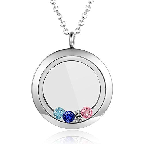 EVERLEAD Living Memory Floating Round Locket Pendant Charms Necklace 316L Stainless Steel Toughened Glass Free Chain and Zircon