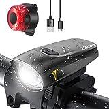 LIFEBEE LED Fahrradlicht, USB Fahrradbeleuchtung Fahrradlicht Vorne Rücklicht Set, Wasserdicht Fahrradlichter Set Fahrrad Licht Fahrradleuchtenset Fahrradlampe Frontlicht mit 2 Licht-Modi