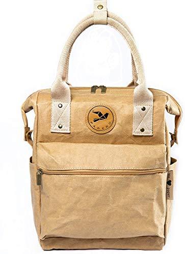 Monaco di Bavaria Papero ® Rucksack 2 in1 aus Kraft Papier waschbar recycelbar | Leicht, Robust, Wasserfest- vegan und nachhaltig | Ultraminimalistisch Handtasche Bagpack (hellbraun)