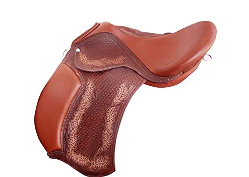Leather Ride Silla de montar inglesa sin árbol, sin herramientas, para todo propósito, color marrón
