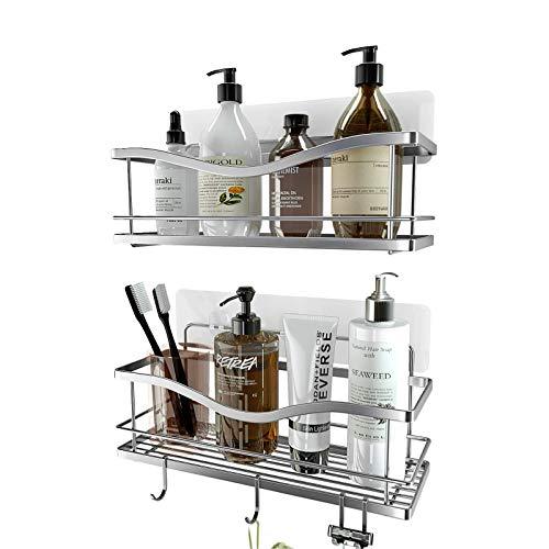 KINCMAX Shower Caddy Bathroom Shelf, No Drilling Traceless Adhesive Bathroom Storage Organizer, SUS304 Rustproof Food Storage Basket, 2-in-1 Kitchen Spice Racks-2 Pack (Polished Silver)…