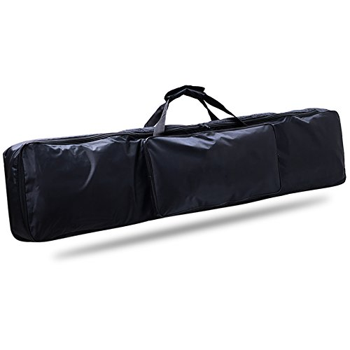 88 Key Piano Keyboard Gig Bag, Waterproof 88-Key Keyboard Case Nylon Extra Pockets for Electric Piano with Adjustable Portable Backpack Straps 52 x 12 x 6in (Black)