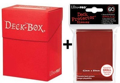 Ultra Pro Deck Box + 60 Small Size Protector Sleeves - Rot - Red - Yu-Gi-Oh! - Japanese Mini