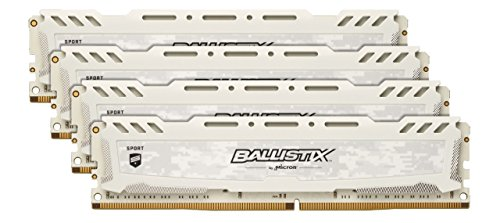 Crucial Ballistix Sport LT Desktop Gaming geheugen (DDR4, DRAM) 3000 MHz CL15 64GB Kit (16GBx4) Dual Rank wit