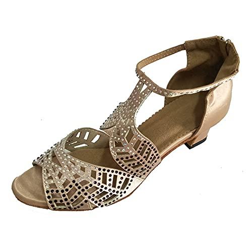 Zapatos de baile latino para mujer con puntera abierta, salsa interior de salón de baile de suela suave para fiestas de satén más colores, beige (Beige 2 Inch Heel), 40.5 EU