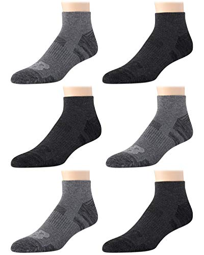 'New Balance Men's Athletic Arch Compression Cushion Comfort Quarter Cut Socks (6 Pack), Grey, Size Shoe Size: 6-12.5'